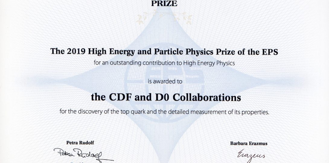 The 2019 European Physical Society High Energy and Particle Physics Prize was awarded to the CDF and D0 Collaborations for the discovery of the top quark and the detailed measurement of its properties.